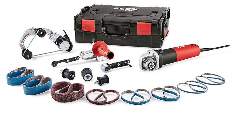Pásová brúska na trubky a pásový pilník TRINOXFLEX v sade BRE 8-4 INOX Set L-BOXX
