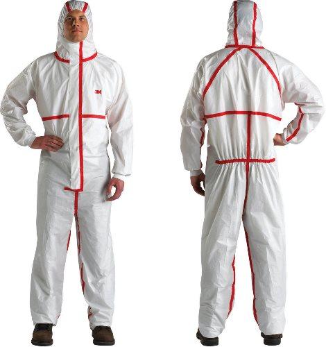 4565 Ochranný jednorázový odev typ 4/5/6, biely s červenou, XL