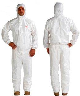 4545 Ochranný jednorázový odev typ 4/5/6, biely s červenou, XXL