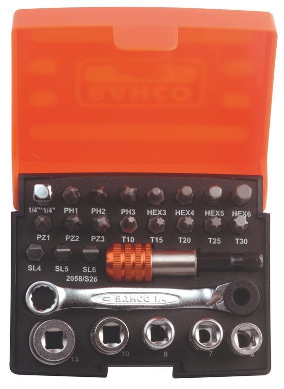 Sada bitov a nástrčných kľúčov + račňa T 2058/S26