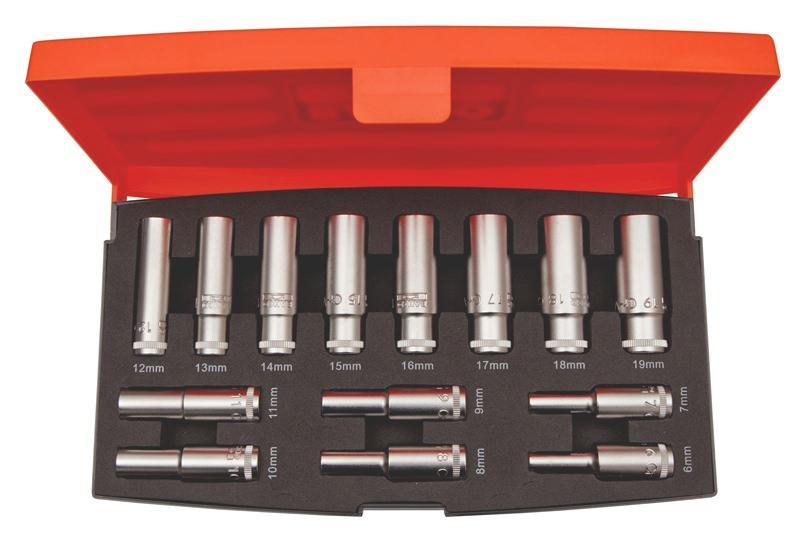 """Sada 3/8"""" nástrčných kľúčov, dlhých S1214L, 14 dielna"""