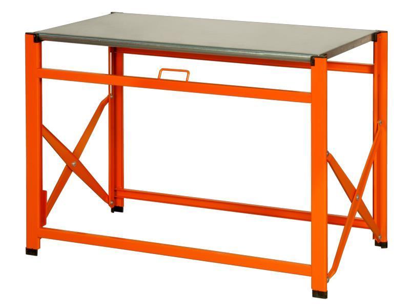 Skladací pracovný stôl s pozinkovanou pracovnou doskou 1495FWB097TS