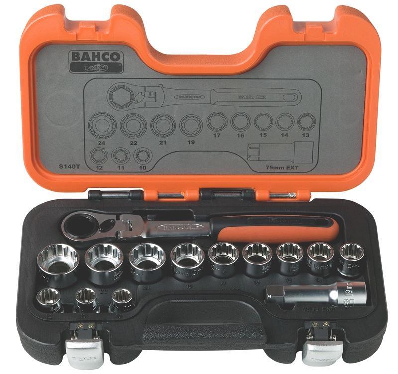 Sada nástrčných kľúčov s priechodnou račňou S140T, 14 dielna