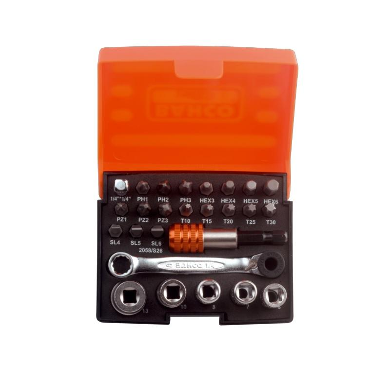 """Multifunkčné náradie  MTT151 + 1/4"""" Sada bitov, nástrčných kľúčov, 26-kusov, 2058/S26"""