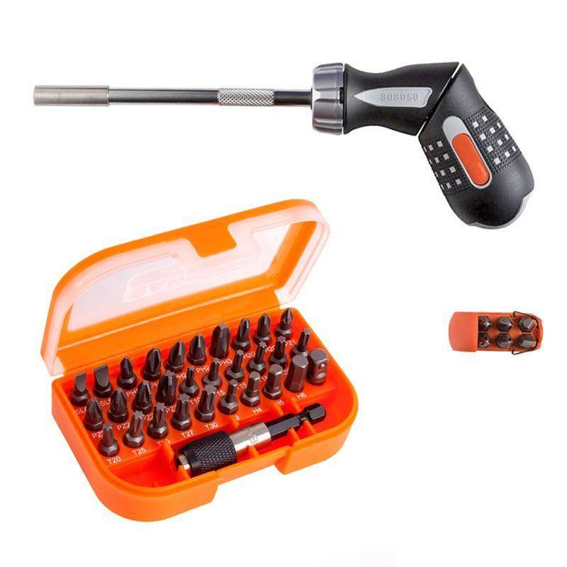 """1/4"""" račňový skrutkovač s pištoľovou rukoväťou a 6 ks bitov 808050P + 1/4"""" Sada bitov, 31-kusov 59/S"""
