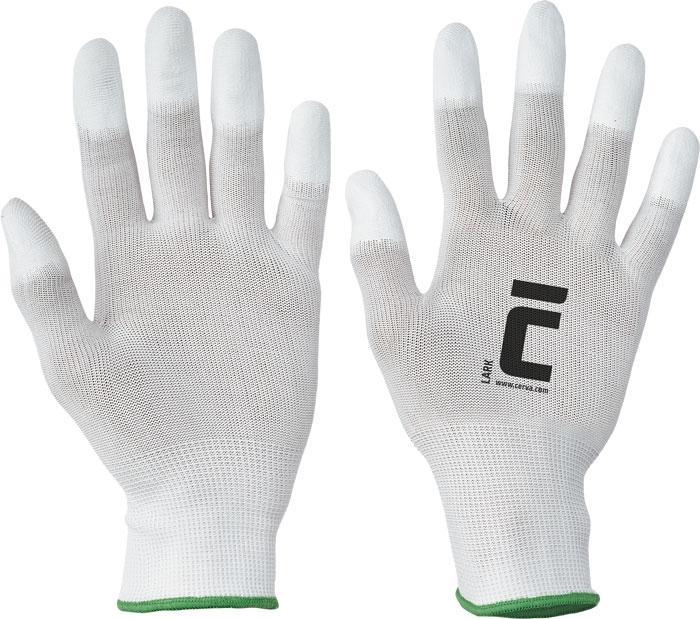 LARK rukavice nyl. PU špičky prstov - M
